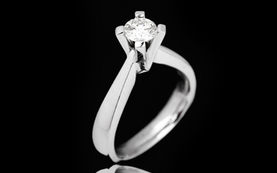 Verenički prsten - Belo zlato 14k, Briliant 1x 0.53ct H/vvs