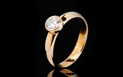 Verenički prsten - Žuto zlato 14k, Briliant 1x0.338ct H/vs