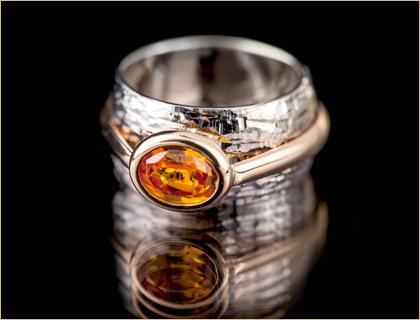 Prsten zuto/belo zlato sa kamenom citrinom