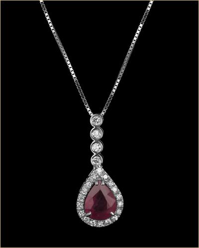 ogrlica belo zlato rubini