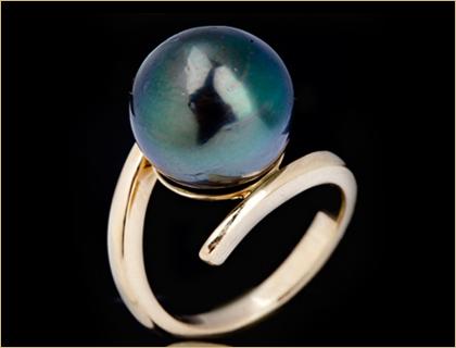 prsten-zuto-zlato, Tahiti biser